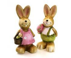 2 x figura decorativa de conejo de Pascua y liebre en el juego de caja de madera Protector de pluma de ganso de puesto de poli de piedra y madera, 12 cm de altura de pared, diseño de Oster con diseño de animales de figura decorativa