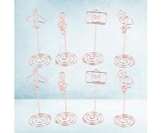 NUOBESTY 8pcs Clip de Soporte de número de Mesa Flamingo avión Nota Forma de sobre Soporte de Tarjeta de Lugar de Metal Clip de Foto memo para Boda decoración de Mesa de Fiesta de Navidad (Oro Rosa)