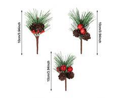 24 Piezas Selecciones de Pino Artificial Piñas Pequeñas de Bayas Falsas Pino Artificial para Boda Jardín Árbol de Navidad Decoraciones Artesanales(Juego de Estilo 2)