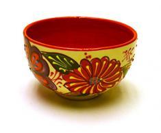 BOL Nº3 cuenco / plato hondo en ceramica hecho y pintado a mano con decoración flor. 13,5 cm x 13,5 cm x 8 cm (ROJO)