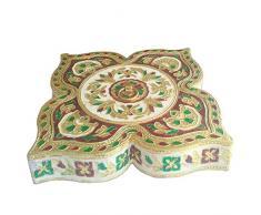 Bandeja, plato decorativo, hermosa caja de merienda con único Meenakari work_EB_Figur_047_US