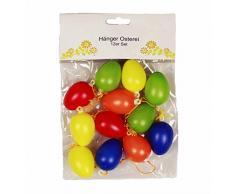 HAAC 12 unidades Pascua Huevos Huevos decorativo Pascua 4 cm de plástico multicolor