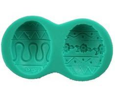 Molde de silicona con calco de 2 Semi ovaladas de huevos de Pascua. Para pasta de azúcar, fondenti, etc para uso alimenticio Fai Da Te DIY.Cat Color Huevos Pascua Fiesta