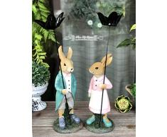 Mankvis Pascua Pareja Conejo Estatua, Decoración De Mesa Interior Jardín Animal Escultura Resina Artesanía Pareja Regalo
