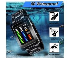 FunkyTop binario de matriz de LED Digital de Impermeable Reloj de Hombres Clásico Tipo de creativos y forma de Negro recubierto de pulsera Relojes