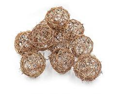 Bocotoer Bolas de Mimbre Natural decoración de Bodas, Navidad, 10 cm, 12 Unidades