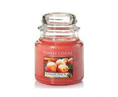 Yankee Candle 1507729E - 410 g Verano Melocotón Vela en jarra mediana, Vidrio, Color Orange, 10x9.8x12.4 cm