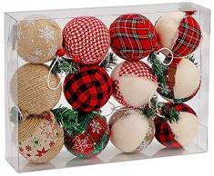 Brubaker - Juego de 12 bolas de Navidad de yute natural de X-Mas - Decoración de árbol en rojo y verde - 8,2 cm de diámetro