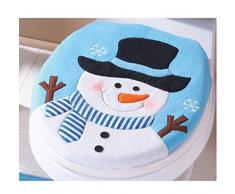 ✽Internet✽ 2 piezas Conjunto de lujo del muñeco de nieve cubierta de asiento de inodoro y alfombras de baño Conjunto de la decoración de Navidad