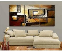 Mon Kunst 100% pintado a mano de pintura al óleo arte abstracto gran arte moderno 3 piezas Lienzo con impresión artística de pared para decoración del hogar, lona, negro, 40cmx60cmx3 UnFramed