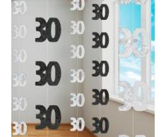 Unique - 6 decoraciones colgantes en plateado brillante para fiesta 30 cumpleaños de 152cm