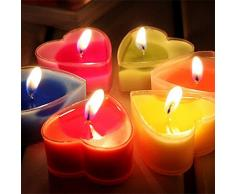 Ruikey 12Pcs Colorido en forma de corazón vela perfumada sin humo romántica Vela té luces para Vindicate boda Navidad Cumpleaños