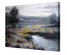 Cuadro moderno en lienzo paisaje con flores amarillas formato rectangular -Pintura actual, medidas grandes 92x73 cm pintada a mano con pinturas al oleo - Arte para decoración