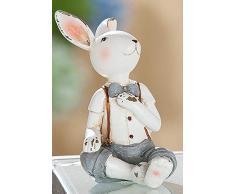 dekojohnson - Figura Decorativa de Conejo de Pascua, Vintage, casa de Campo, decoración de jardín, decoración de Pascua, Color Blanco, 9 cm