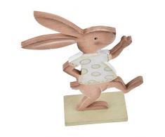 Conejo Funny Nostalgie Diseño Figura de madera marrón verde pascua mesa decoración, madera, marrón verde, 21x13x4cm