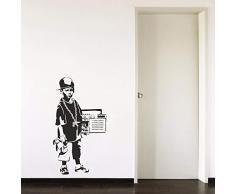 42x76 cm Banksy Hip Hop Boy Adolescente Radio Cool Cap Pasillo Boy Dormitorio Sala de estar Inicio Ventana Decoración Vinilo Arte Tatuajes de Pared etiqueta