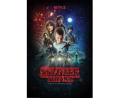 Stranger Things Póster Netflix Original Series (61cm x 91,5cm) + 2 Marcos Negros para póster con suspención