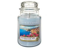 Yankee Candle 1507716E - 623 g Riviera Escapar Vela en jarra grande, Vidrio, Color Azul, 10x9.8x14.7 cm