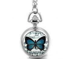 JewelryWe Joyas collar con los hombres retro de la mujer Base Música mariposa colgante de impresión reloj de bolsillo de plata de la cadena 80cm de largo