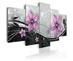 Cuadro 100x50 cm! 3 tres colores a elegir - 5 partes - Impresion en calidad fotografica - Cuadro en lienzo tejido-no tejido - flores ornamento abstracción b-A-0075-b-n 100x50 cm B&D XXL