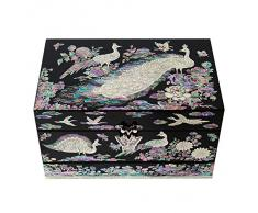 Cofre Joyero de Madreperla Diseño de Pavo Real para Joyería Bisutería Caja de Madera Espejo Organizador