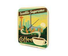 Reloj De Pared Coffee Cafe Bar Nostalgia Seattle Supremo Plexiglas Impreso