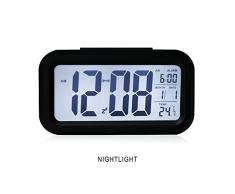 HITO - Despertador Reloj con alarma de 5,3 pulgadas - Despertador LED con información de fecha, función snooze, sensor luminoso y luz nocturna
