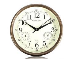 Aliciashouse Vintage silenciosa pared reloj temperatura humedad termómetro higrómetro Home Cafe moderno decoración regalo