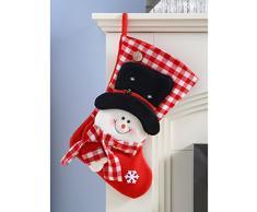 WeRChristmas - Calcetín de navidad con decoración de muñeco de nieve (48 cm), color blanco y rojo