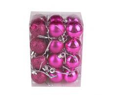 Bola de adorno,Longra 24 piezas Xmas bolas brillas elegantes de adorno de decoracion de arbol chucherias de Navidad (rosa fuerte)