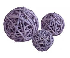 Bola de ratán diámetro 12 cm lila 4 unidades)