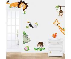 Rainbow Fox León de la selva salvaje animal, jirafa, mono pared del vinilo de la etiqueta engomada para Bebés y Niños Dormitorio (CD001)