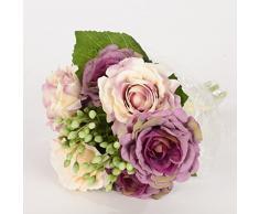9 por la rama de seda flores artificiales ramo de novia con Rosas Flores para Boda, 6 colores