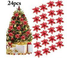 """Outgeek Flores para Navidad, 24 Piezas 5.91""""Flor de Navidad Artificial con Purpurina de Navidad para Árbol de Navidad Guirnalda Ornamento de la decoración del Partido (Rojo)"""