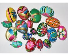 Huevos de Pascua pintados, 10 unidades, madera, sin corchete, varios diseños, aprox. 2,3 x 3,3 cm