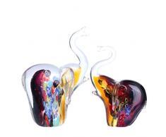H&D - Figura decorativa de cristal hecha a mano, diseño de animal, decoración moderna del hogar, vidrio, Elefante, juego de 2 unidades.