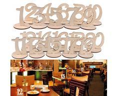 Dproptel - Números de madera para mesa de boda con soporte resistente, tarjeta de lugar para fiestas, eventos o catering, decoración para el hogar