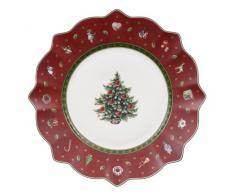 Villeroy & Boch 1485852640 Toy's Delight - Plato decorativo de desayuno (24 cm), motivos navideños, color rojo