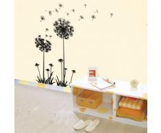 Walplus - Vinilo adhesivo de quita y pon para la pared, diseño de dientes de león volando, color negro