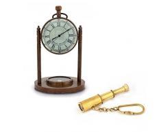 Little India Combo de reloj brújula y telescopio llavero marrón