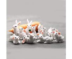Yichener 1 Pieza 12 Estilo Conejo Pascua decoración Miniatura Liebre Animal Figura de Resina Craft Mini Conejo jardín Adorno DIY Accesorios