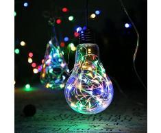 lederTEK Cadena de Luces 30 LED y 3m de Alambre de Cobre Impermeable con Batería para Utilizarlas en Temas de Decoracion en el Árbol de Navidad o Resaltar Alguna Figura Decorativa Colores