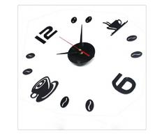 Ularma BRICOLAJE pared Interior adhesivo auto decoración creativa mudo reloj de acrílico (negro)