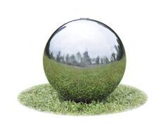 vidaXL Fuente Decorativa de Tipo Bola con Leds para jardín, Acero Inoxidable, 40 cm