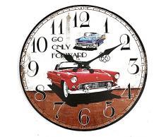 Bluelover Arte De La Decoración Vintage Pared Reloj Coche Rústico Hogar Oficina Cafe Bar