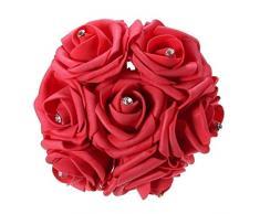 Ramo de flores de novia - TOOGOO(R) Ramo nupcial de novia de 7 piezas(un manojo) de rosa artificial de espuma para decoracion del banquete de boda rojo