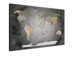 LanaKK® - mapamundi noble gris con corcho - versión Inglés, reproducción artística sobre lienzo premium en bastidor, tablón de notas para los trojoamundos, tamaño con bastidor tensado 100 x 70 cm, en una seccione