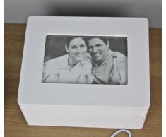 Caja blanca de la caja de joyería de madera caja de joyería de marco de fotos marco de fotos de diseño