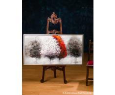 Cuadro al óleo pintado a mano con marco - Árboles blanco y rojo - 124 x 64 cm