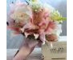 Ramo de Novia Sostiene Flores de Lirio Tela Artificial Cintas para Boda - Rosado